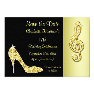 Gold Stiletto & Treble Cleft 17th Save The Date 9 Cm X 13 Cm Invitation Card