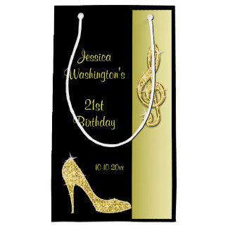 Gold Stiletto & Treble Cleft 21st Birthday Party Small Gift Bag