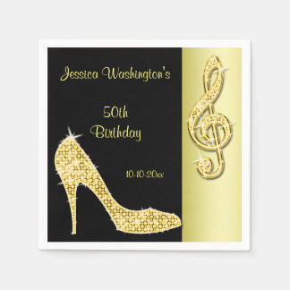 Gold Stiletto & Treble Cleft 50th Birthday Paper Napkin