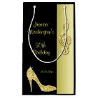 Gold Stiletto & Treble Cleft 50th Birthday Party Small Gift Bag