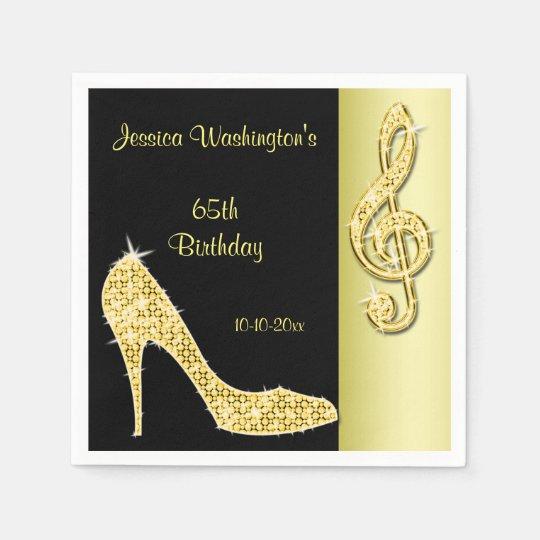 Gold Stiletto & Treble Cleft 65th Birthday Paper