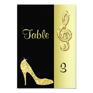 Gold Stiletto & Treble Cleft 9 Cm X 13 Cm Invitation Card