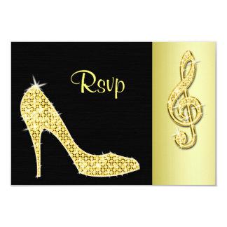 Gold Stiletto & Treble Cleft RSVP 9 Cm X 13 Cm Invitation Card