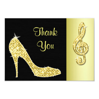 Gold Stiletto & Treble Cleft Thank You 9 Cm X 13 Cm Invitation Card