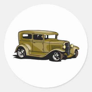 Gold Street Rod Round Sticker