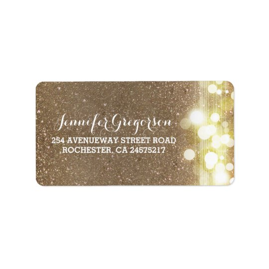 Gold String Lights Chic Wedding Label