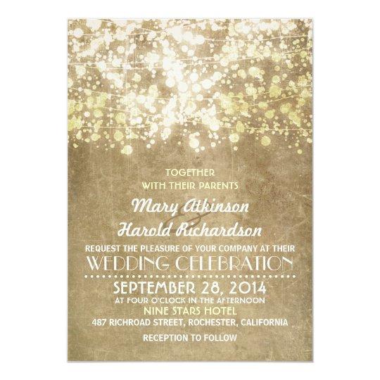 Gold String Lights Glam Elegant Vintage Wedding Card