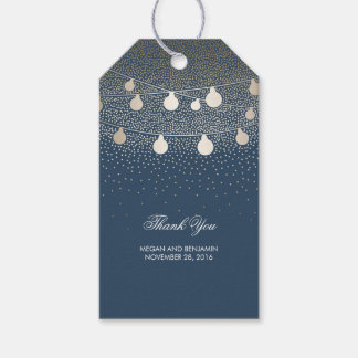 Gold String Lights Glitter Romantic Navy Wedding
