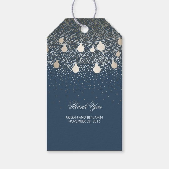Gold String Lights Glitter Romantic Navy Wedding Gift