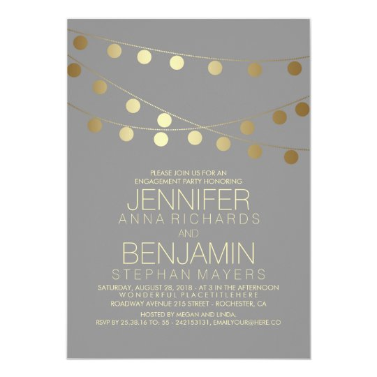 Gold String Lights Modern Engagement Party Card