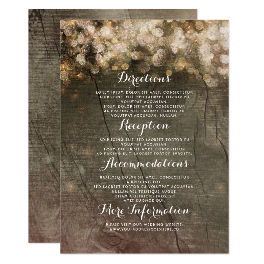 Gold String Lights Rustic Wedding Details Card