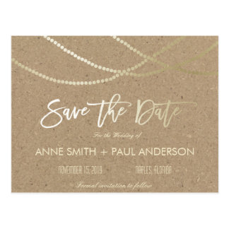Gold string of lights Save the Date Postcard