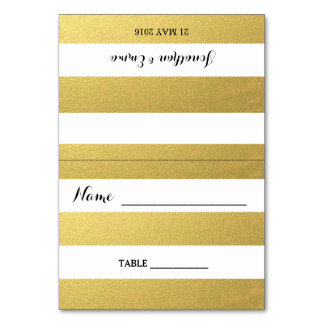 Gold Stripe Escort Cards Table Card