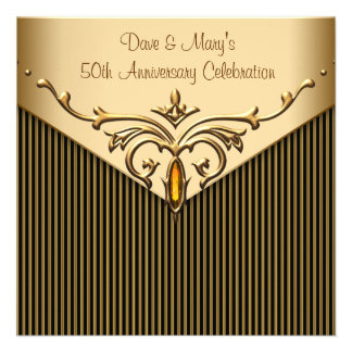 Gold Stripe Gold 50th Anniversary Party Announcement