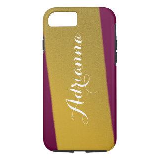 Gold Stripe Modern Pattern Deep Raspberry iPhone 7 Case