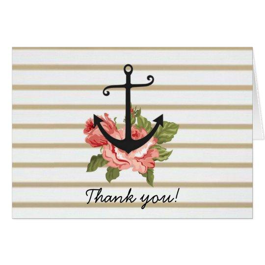 Gold Stripe Nautical Anchor Thank You Cards