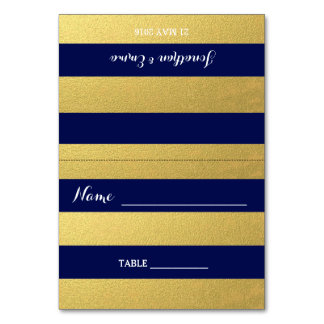 Gold Stripe Navy Blue Escort Cards Table Cards