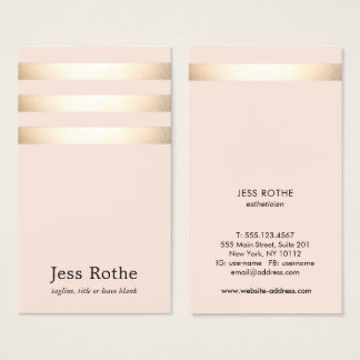 Gold Striped Blush Pink Beauty Professional Business Card