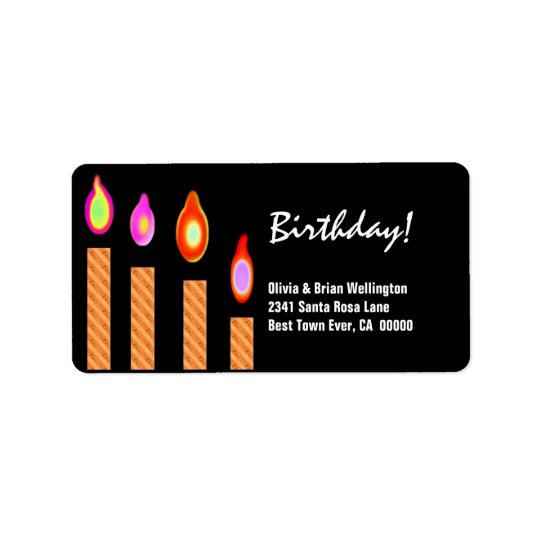Gold Striped Candles Birthday Personalised Address Label