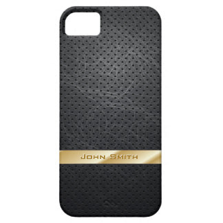 Gold Striped Dark Leather iPhone 5 Case