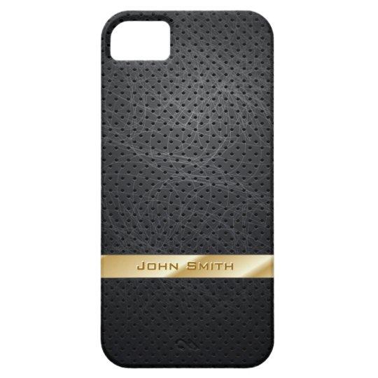 Gold Striped Dark Leather iPhone 5 Case