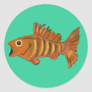 Gold Striped Fish Round Sticker
