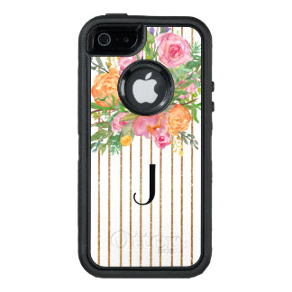 Gold Striped Floral Otterbox iPhone 5S Case