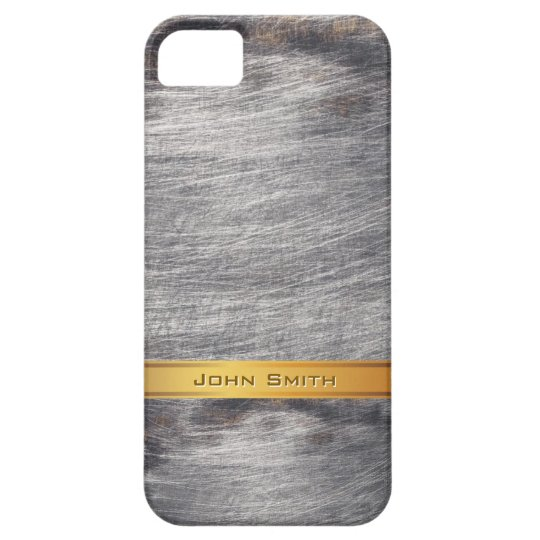 Gold Striped Grunge Steel Metal Custom Name Case
