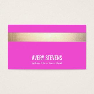 Gold Striped Modern Hot Pink Beauty Salon Business Card