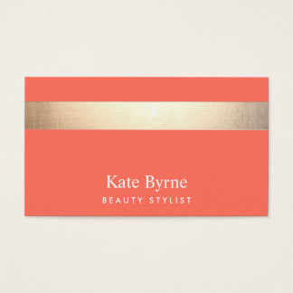 Gold Striped Modern Stylish Coral Business Card