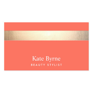 Gold Striped Modern Stylish Coral Pack Of Standard Business Cards