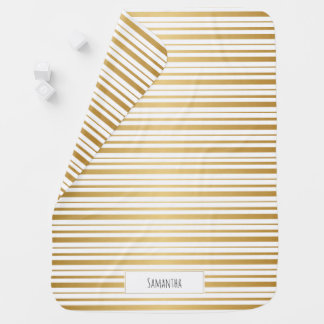 Gold Striped Monogram Baby Blanket