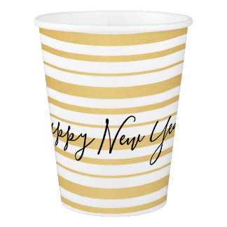 Gold Striped Pattern Happy New Year Party Cups