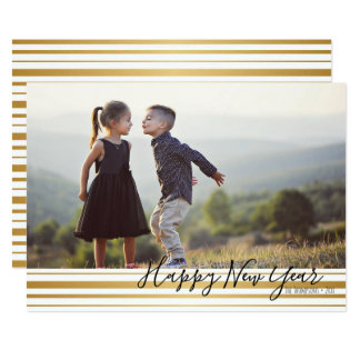Gold Striped Pattern Happy New Year Photo Card