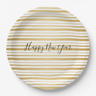 Gold Striped Pattern New Year's Paper Plates