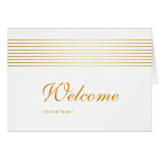 Gold Striped Sleek White Welcome Card