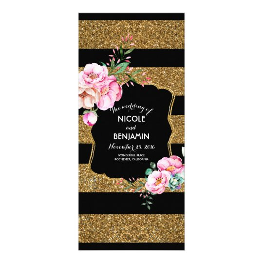 Gold Stripes and Pink Floral Wedding Programs Rack