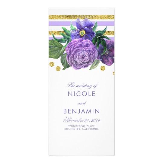Gold Stripes and Purple Flowers Wedding Programs Rack