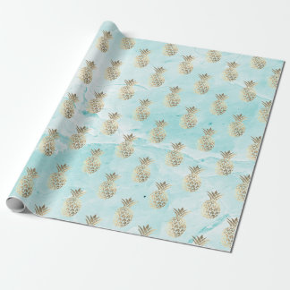 gold stripes aqua tiffany  marble pineapple gold wrapping paper