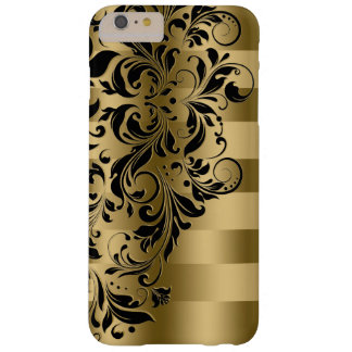 Gold Stripes & Black Floral Lace Barely There iPhone 6 Plus Case