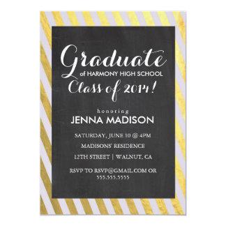Gold Stripes Chalkboard Graduation Invitation