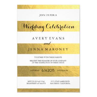 Gold Stripes Elegant Wedding Invitation