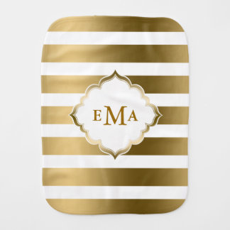 Gold Stripes Geometric Pattern With Monogram Burp Cloth