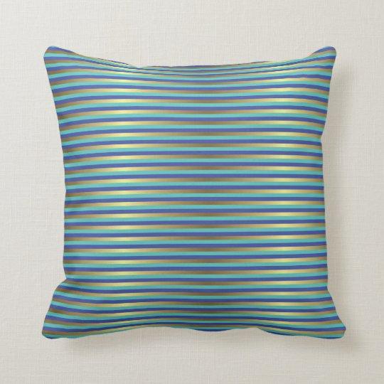 Gold Stripes Nautical Sea Blue Periwinkle Cushion