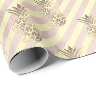 gold stripes pink rose blush marble pineapple gold wrapping paper
