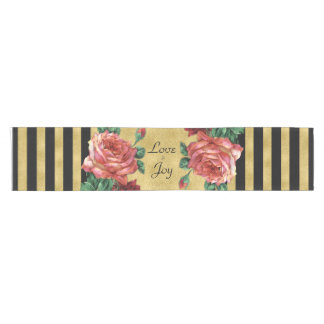 Gold Stripes Rose Flower Table Runner JoSunshine
