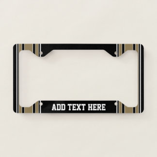 Gold Stripes Sports Jersey Name - CAN EDIT COLOR Licence Plate Frame