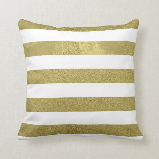 Gold Stripes Throw Pillow