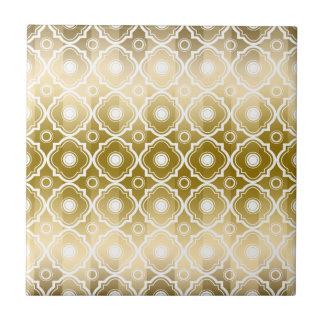 Gold Stripes & White Quatrefoil Geometric Small Square Tile