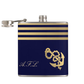 Gold stripes with gold anchor add monogram hip flask